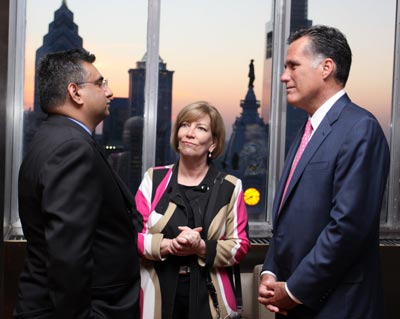 Raza with Governor Romney and Claudia McBride, President World Affairs Council, Philadelphia, PA